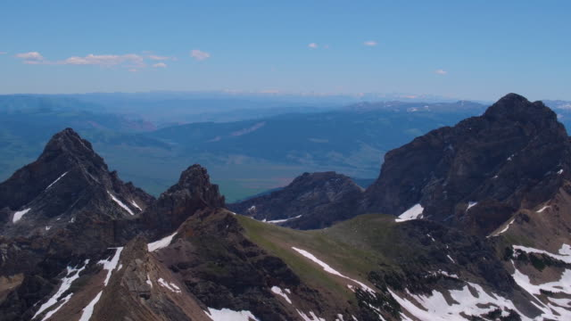 aerial view of teton mountain range - grand teton stock videos & royalty-free footage