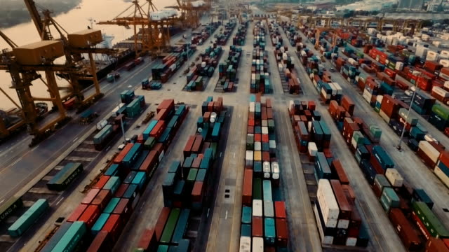 stockvideo's en b-roll-footage met luchtfoto van thailand container terminal - binnenschip
