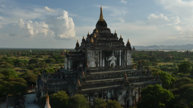 aerial view of thatbyinnyu pahto - myanmar stock videos and b-roll footage