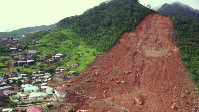 Aerial view of the aftermath of a devastating landslide in Sierra Leone
