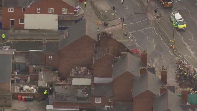 vídeos de stock, filmes e b-roll de aerial view of the aftermath of an explosion at a polish store in leicester - editorial