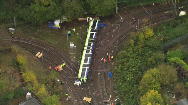 Aerial view of the aftermath of the Croydon tram derailment