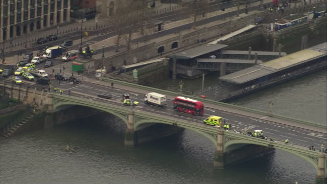 aerial view of the aftermath of the westminster terror attack, including the crashed car - violence stock videos & royalty-free footage