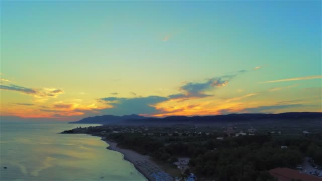 Aerial view of the Agia Paraskevi Beach of Alexandroupolis during sunset at summer