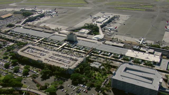Aerial view of the airport terminal at Honolulu International Airport, Oahu, Hawaii.