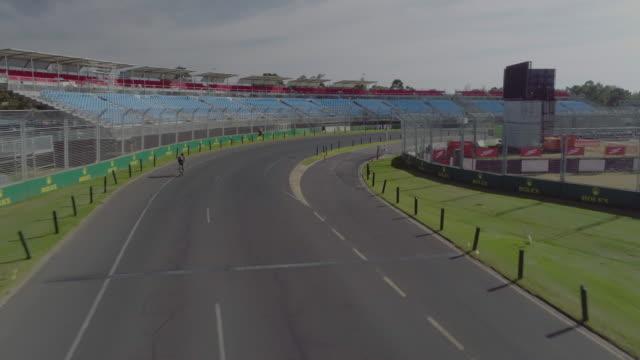 Aerial view of the Albert Park motor race track. Melbourne Australia