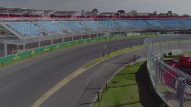 aerial view of the albert park street race track. melbourne australia - sportstrecke stock-videos und b-roll-filmmaterial