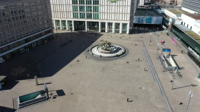 aerial view of the alexanderplatz standing nearly empty following the tightening of measures affecting public life due to the coronavirus on march 22... - alexanderplatz stock videos & royalty-free footage