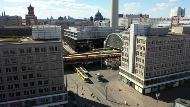 aerial view of the alexanderplatz standing nearly empty following the tightening of measures affecting public life due to the coronavirus some public... - alexanderplatz stock videos & royalty-free footage