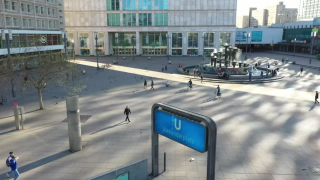 aerial view of the alexanderplatz standing nearly empty following the tightening of measures affecting public life due to the coronavirus on april 18... - home shopping stock videos & royalty-free footage