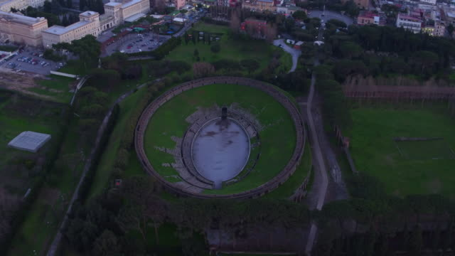 aerial view of the amphitheater in pompei, naples - amphitheatre stock videos & royalty-free footage