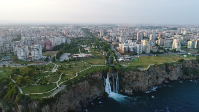 aerial view of the antalya city - turchia video stock e b–roll