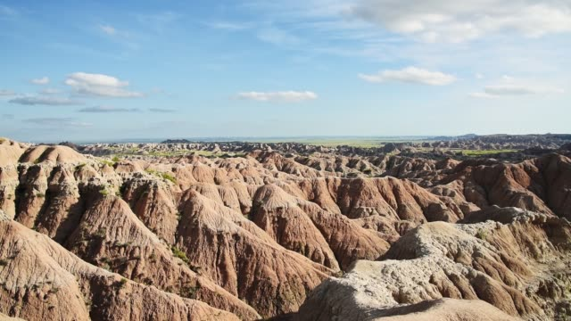 aerial view of the badlands national park in south dakota - badlands national park stock videos & royalty-free footage
