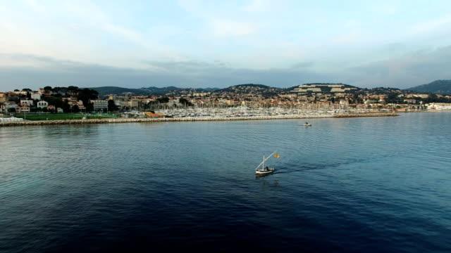 vidéos et rushes de aerial view of the bay of bandol, var, provence, france - var
