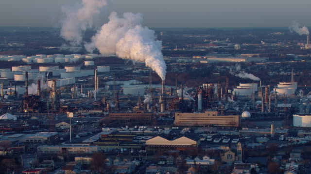 Aerial view of the Bayway Oil Refinery in New Jersey.