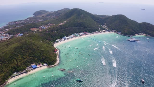 aerial view of the beach with beautiful sea on koh larn island in pattaya city - chonburi province stock videos & royalty-free footage
