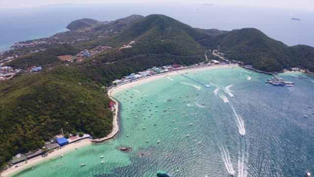aerial view of the beach with beautiful sea on koh larn island in pattaya city thailand - pattaya stock videos & royalty-free footage