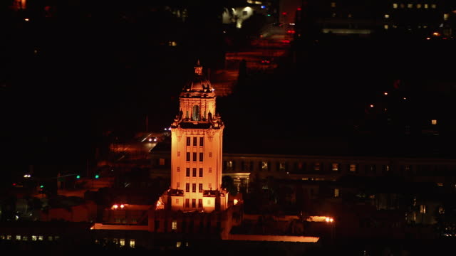 Aerial view of the Beverly Hills City Hall, illuminated at night. Beverly Hills is a city in Los Angeles County, California.