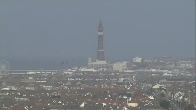 Aerial view of the Blackpool Tower and promenade