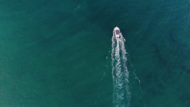 aerial view of the boat running on the aegean sea - mediterranean sea stock videos & royalty-free footage