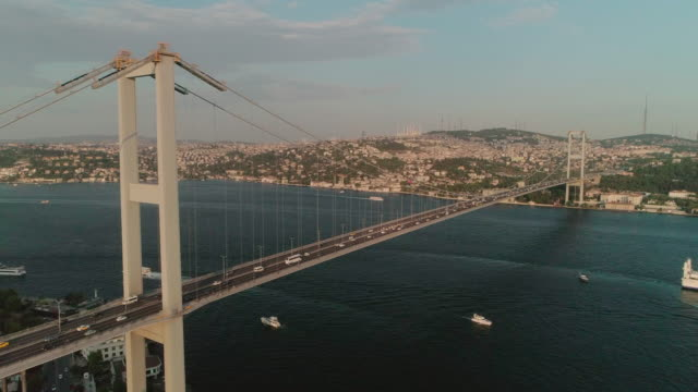 aerial view of the bosphorus bridge. otrakoy. istanbul. turkey. - july 15 martyrs' bridge stock videos & royalty-free footage