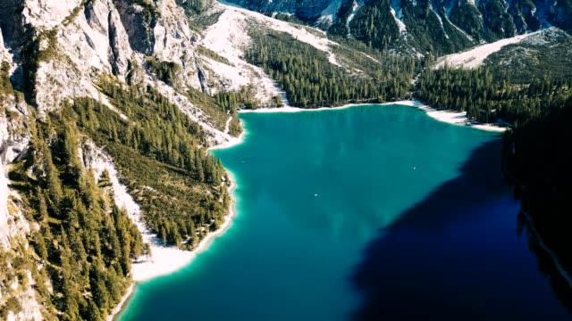 aerial view of the braies lake in trentino alto adige - dolomites stock videos & royalty-free footage