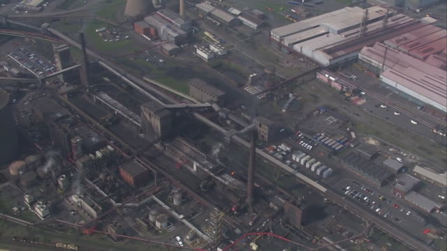 aerial view of the british steel steelworks in scunthorpe - steel stock videos & royalty-free footage