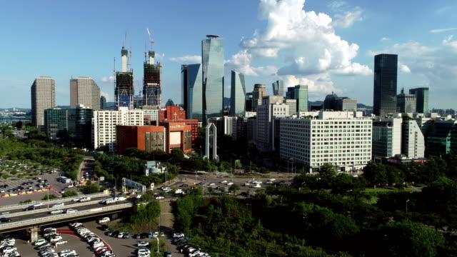 aerial view of the buildings in yeouido financial district, seoul - corea del sud video stock e b–roll