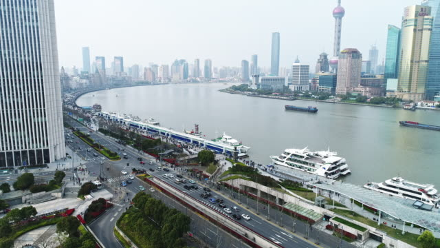 Aerial View of The Bund of Shanghai