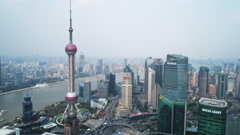 vídeos y material grabado en eventos de stock de aerial view of the bund of shanghai - shanghái