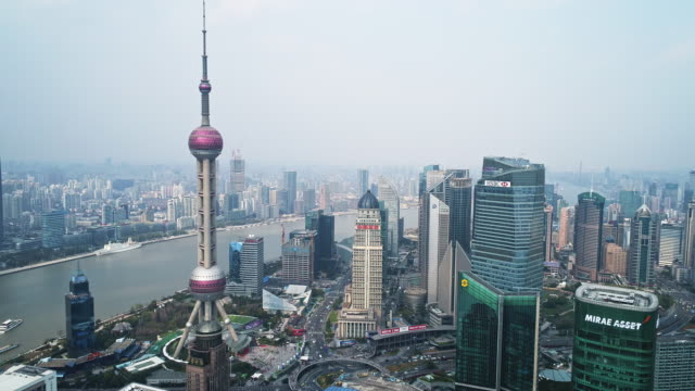 aerial view of the bund of shanghai - shanghai stock videos & royalty-free footage