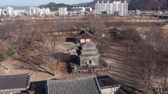 aerial view of the bunhwangsa temple(it was built during the year 634 and the third year of queen seondeok's rule) in gyeong-ju - gyeongju stock videos and b-roll footage