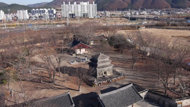 vídeos y material grabado en eventos de stock de aerial view of the bunhwangsa temple(it was built during the year 634 and the third year of queen seondeok's rule) in gyeong-ju - árbol latente