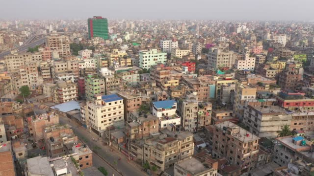 aerial view of the capital city in dhaka bangladesh on april 04 2020 - crisis stock videos & royalty-free footage
