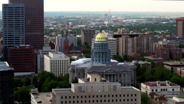 aerial view of the capitol in denver - colorado stock videos & royalty-free footage
