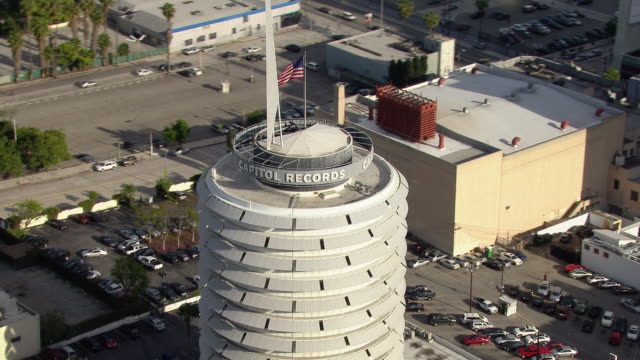 Aerial view of the Capitol Records Building in Hollywood, Los Angeles. The circular building is thought to resemble a stack of records.
