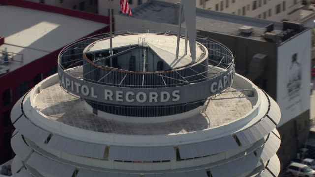 Aerial view of the Capitol Records Tower in Hollywood, Los Angeles.