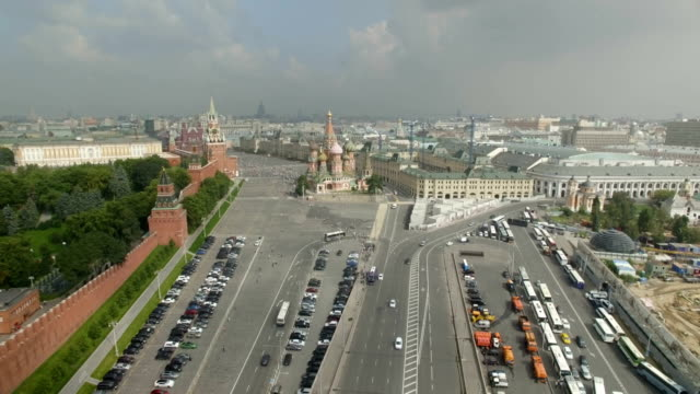 aerial view of the cathedral of vasily the blessed, known as st. basil's cathedral in red square - st. basil's cathedral stock videos and b-roll footage