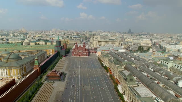 vídeos y material grabado en eventos de stock de aerial view of the cathedral of vasily the blessed, known as st. basil's cathedral in red square - plaza roja