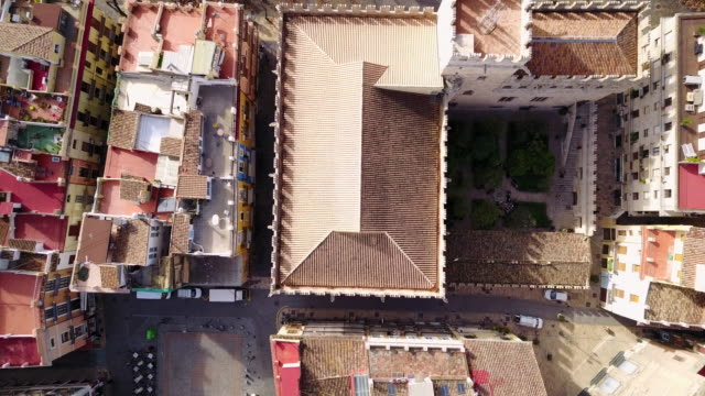 aerial view of the central market of valencia and la lonja de la seda - monument stock videos & royalty-free footage