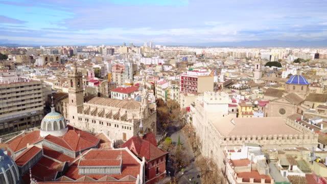 aerial view of the central market of valencia and la lonja de la seda - seda stock videos & royalty-free footage