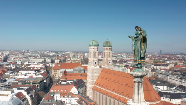 aerial view of the central square marienplatz after the tightening of measures affecting public life due to the coronavirus - germany stock videos & royalty-free footage