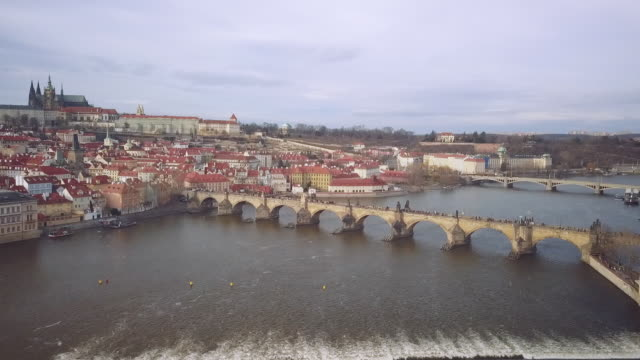 aerial view of the charles bridge in prague - mala strana stock videos and b-roll footage
