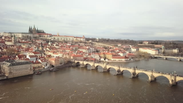 Aerial view of the Charles Bridge in Prague
