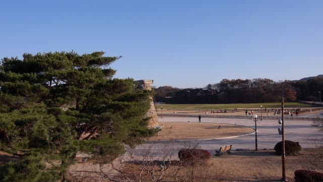 aerial view of the cheomseongdae observatory(it is the oldest existing astronomical observatory in asia) in gyeongju - observatorium stock-videos und b-roll-filmmaterial
