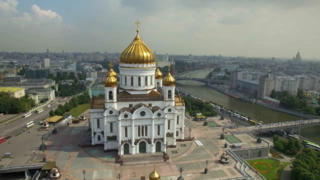 aerial view of the christ the saviour cathedral  - russian culture stock videos & royalty-free footage