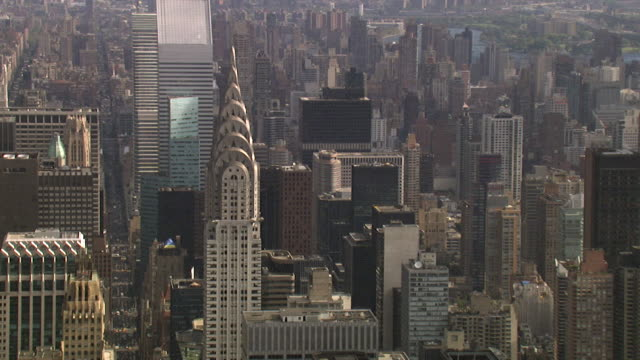 aerial view of the chrysler building, new york, usa - empire state building video stock e b–roll