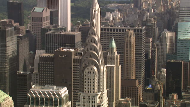 aerial view of the chrysler building, new york, usa - chrysler building stock videos & royalty-free footage