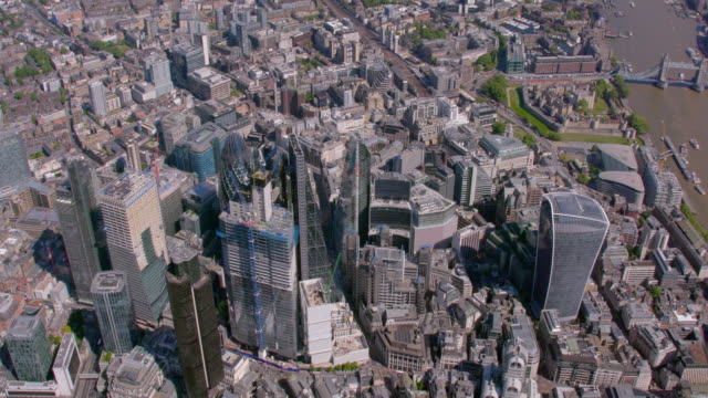 aerial view of the city and the shard, london, uk. 4k - panoramic stock videos & royalty-free footage