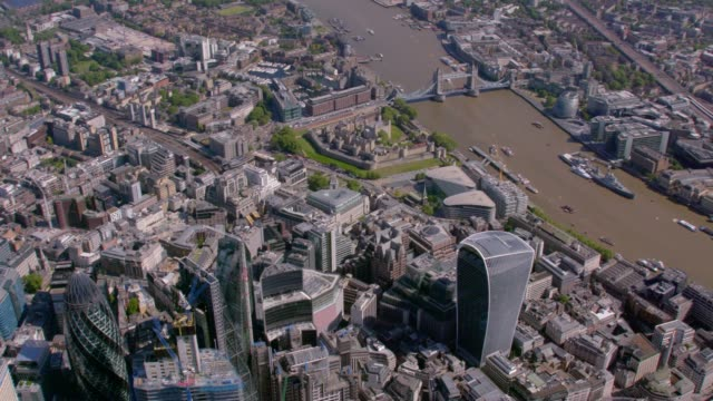 aerial view of the city and the shard, london, uk. 4k - london bridge england stock videos and b-roll footage